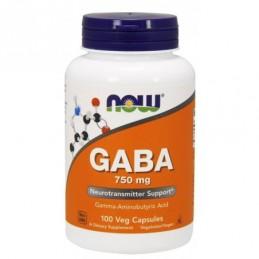 GABA 750 mg NOW 100 веган капс